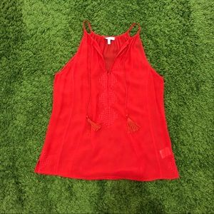 Joie Red Orange Tank Top With tassels Size XS